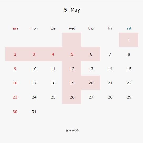 5月の定休日です