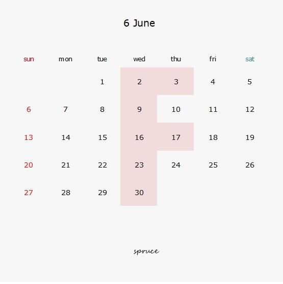 6月の定休日です